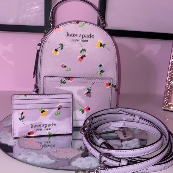 Kate spade mini floral backpack matching wallet